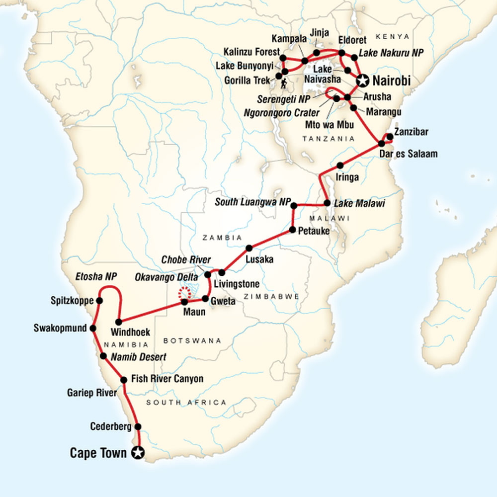 Map of Ultimate Africa - Cape Town to Nairobi