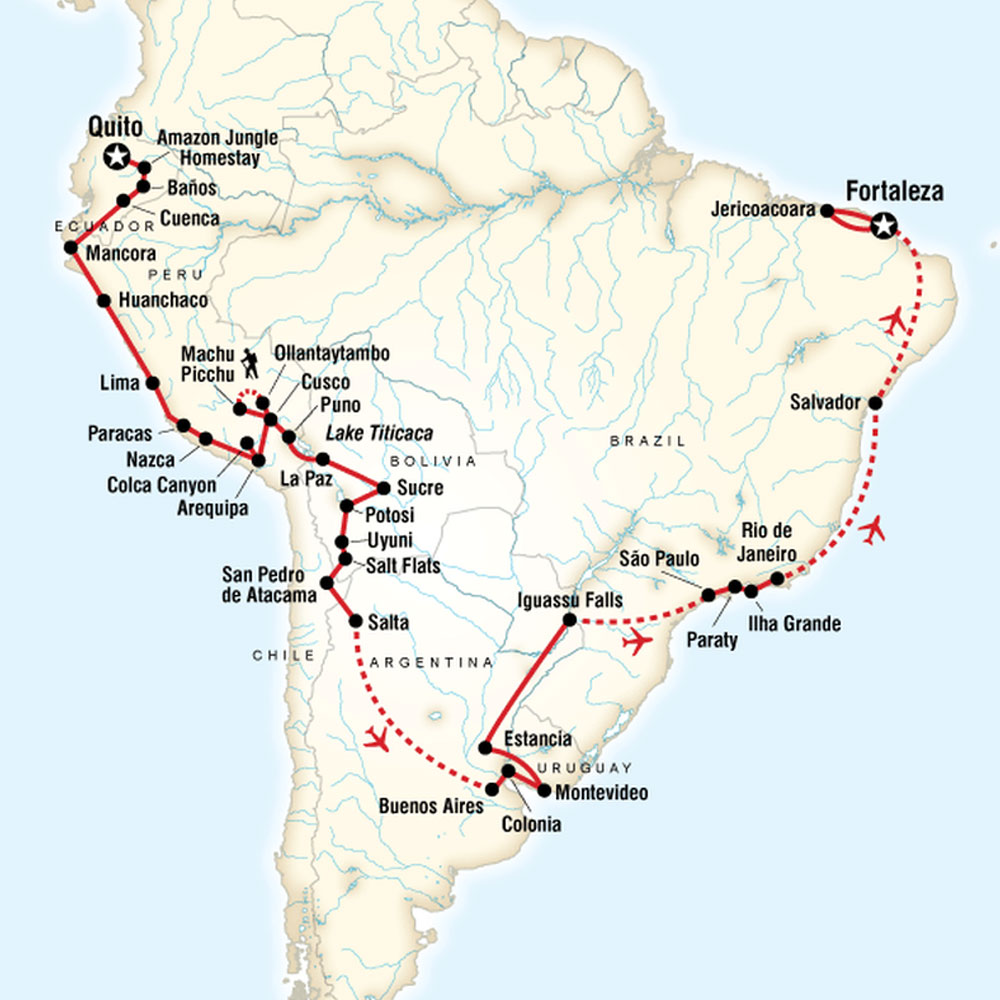 Map of The Great South American Journey - Quito to Fortaleza