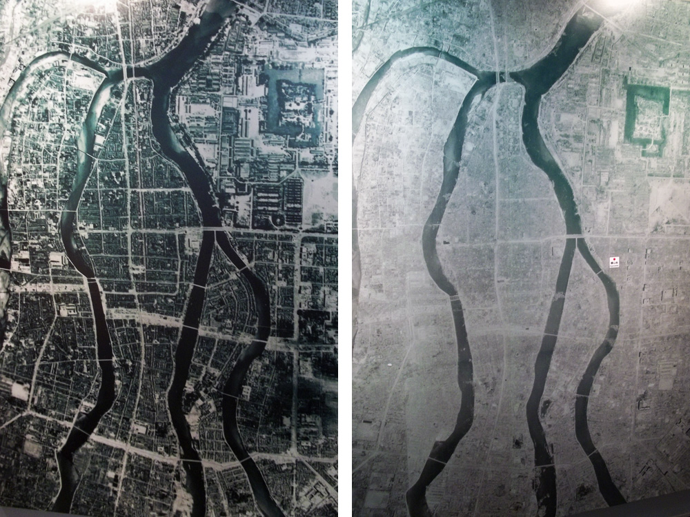 Hiroshima before and after bomb