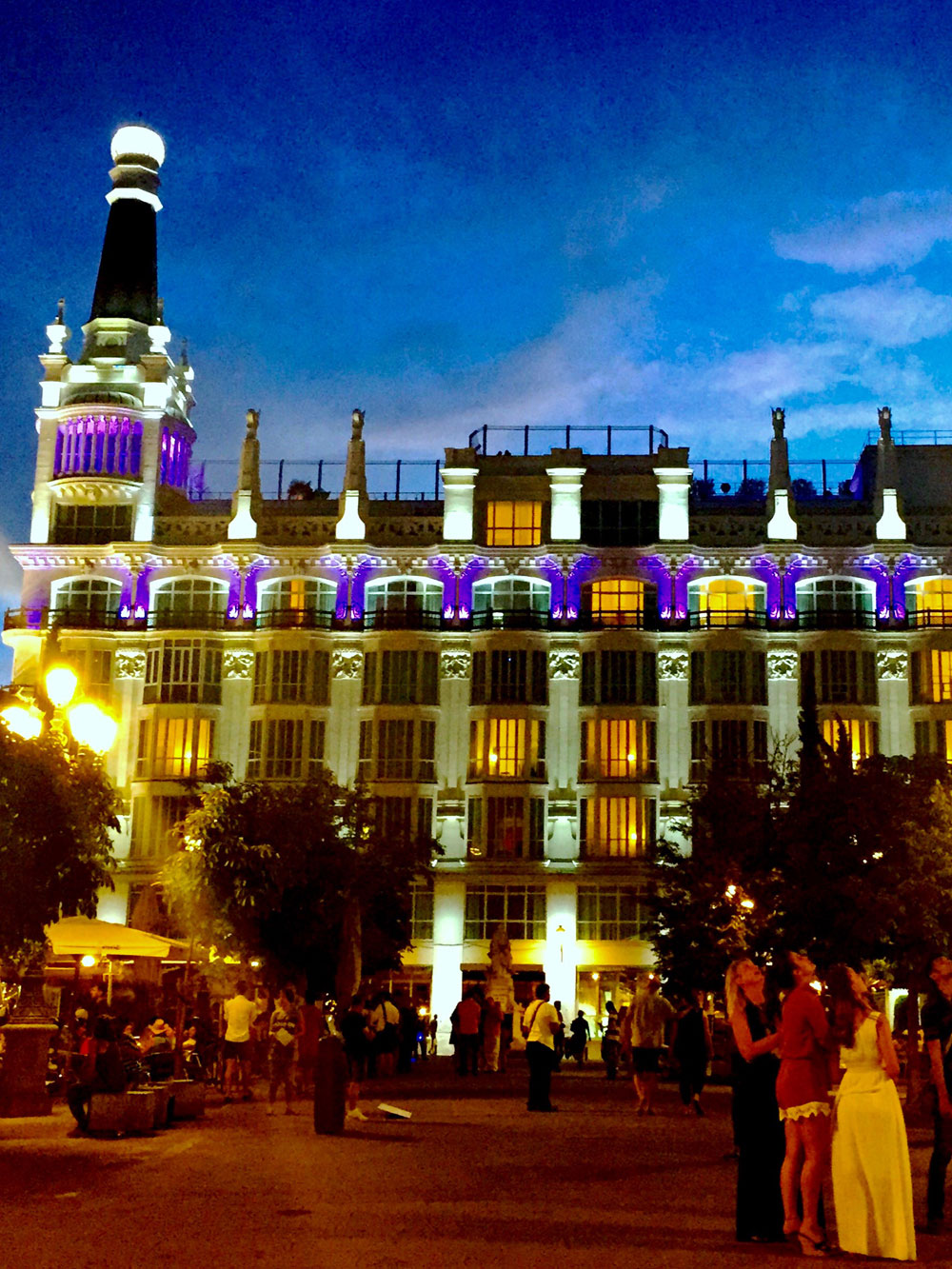 Plaza de Santa Ana at night - Passports and Plates