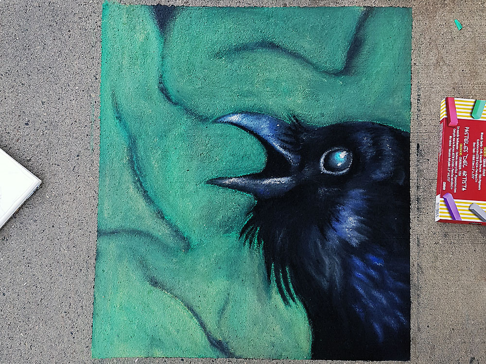 Kristine Ens finished chalk art crow