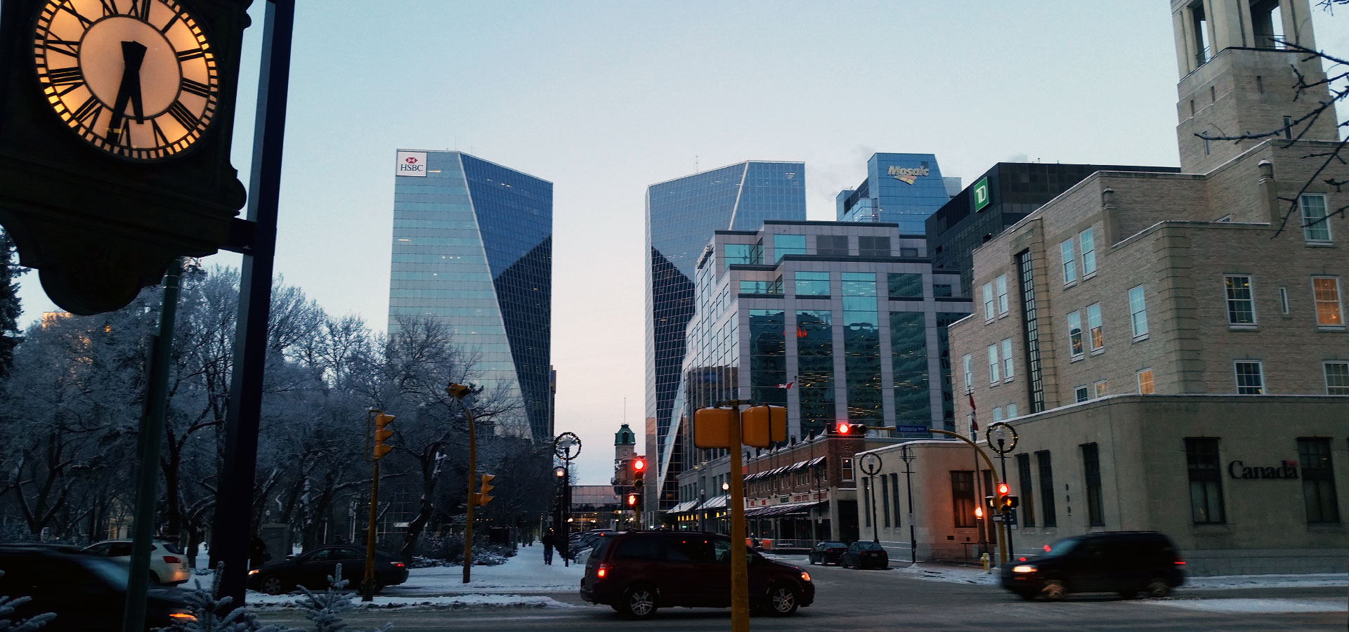 Downtown Regina in the winter