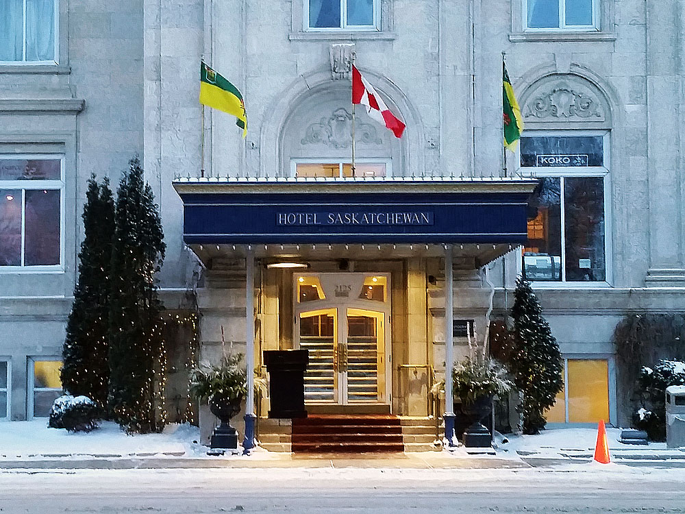 Hotel Sask in the winter