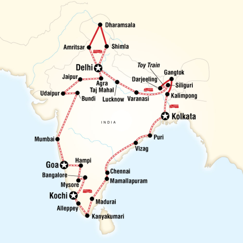 Map of Indian Odyssey by Rail – Delhi to Delhi