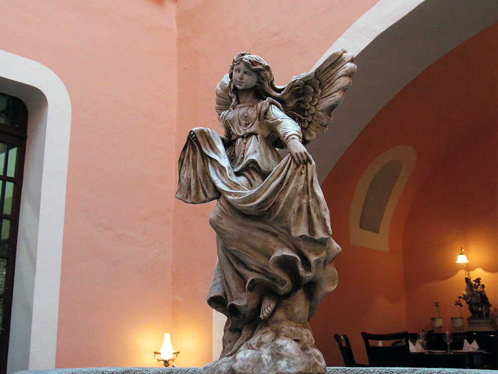 Angel in Mexican restaurant
