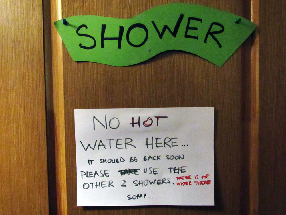 No hot water