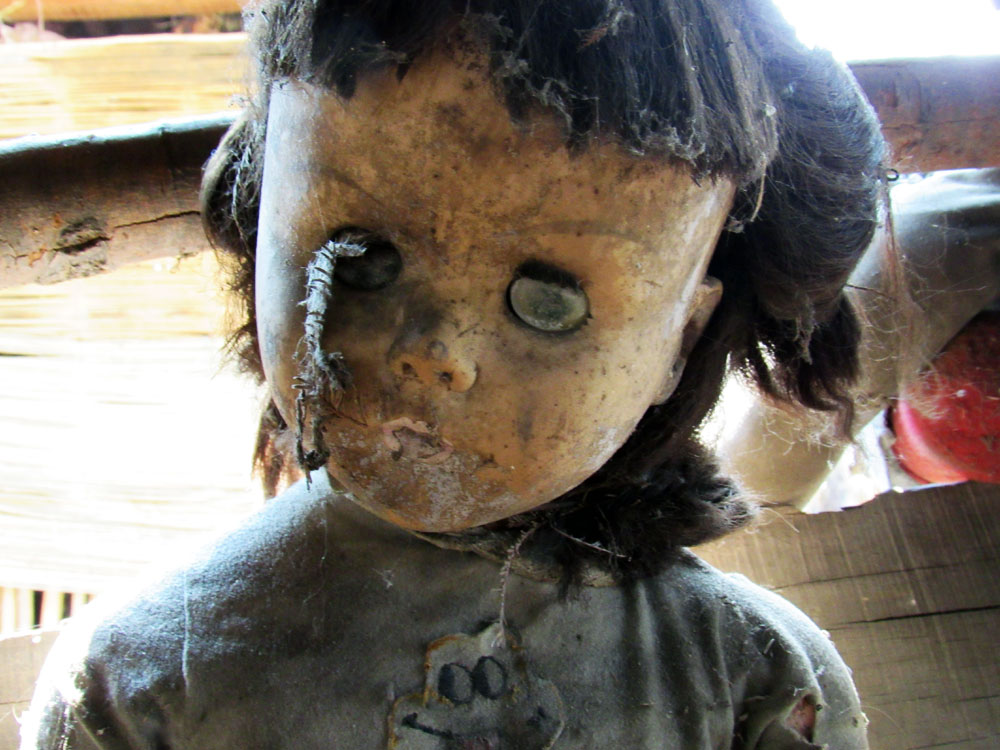 Doll with stick in eye
