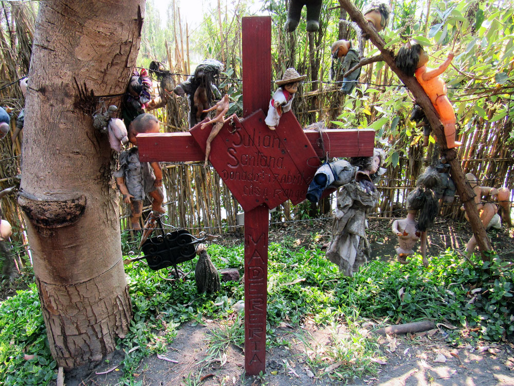 Don Julián Santana Barrera's grave at The Island of the Dolls