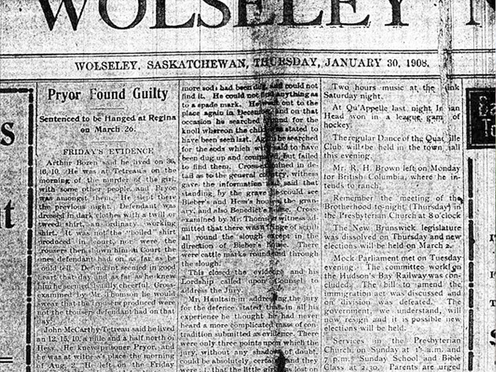 Wolseley newspaper of Pryor trial