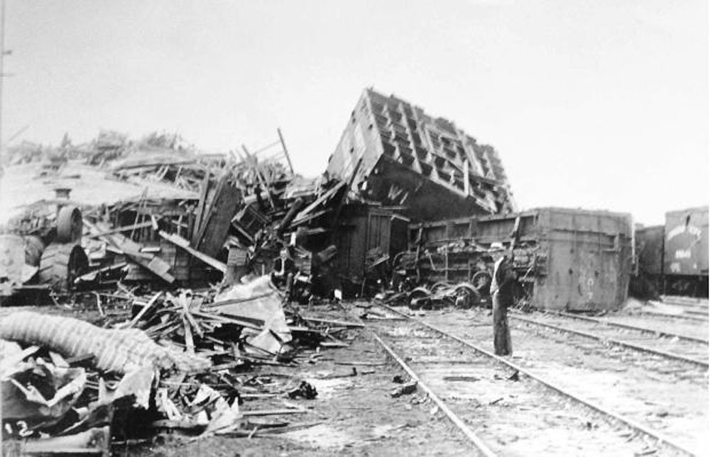 Regina railyard after cyclone 1912