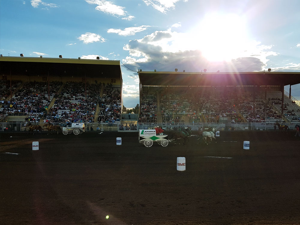 Chuck wagon barrel racing in Medicine Hat