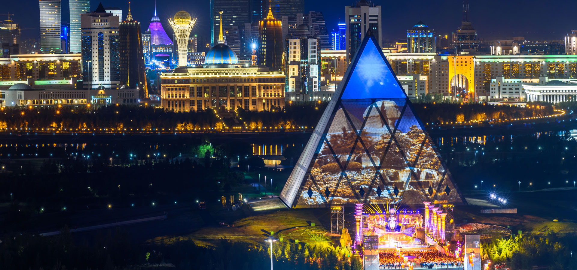Pyramid and skyline of Astana