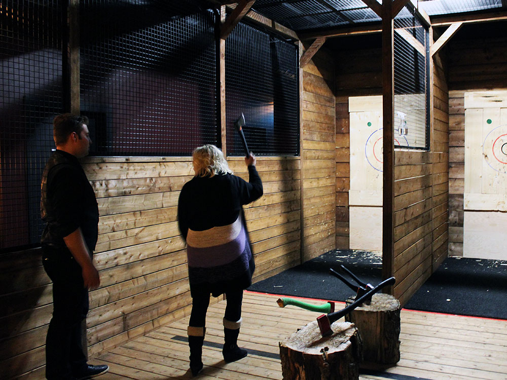 Axe-throwing at Escape Manor