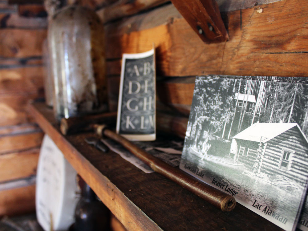 Postcards inside Grey Owl's Cabin