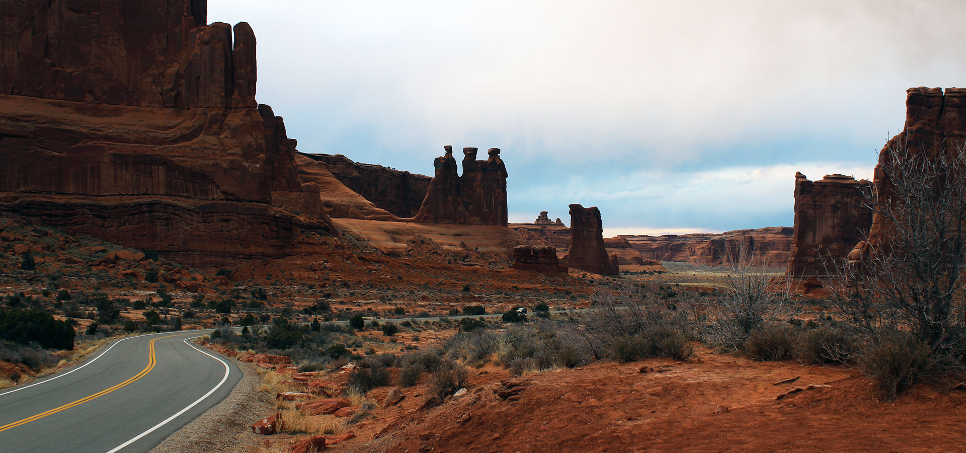 The drive to Arches National Park