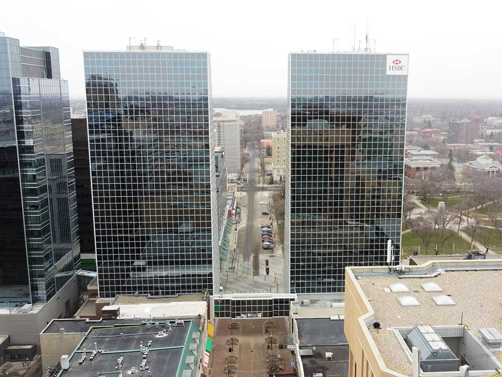Looking at the McCallum Hill Towers from above the RBC Building in downtown Regina